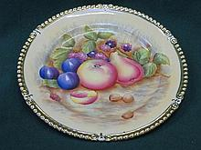 AYNSLEY HANDPAINTED AND GILDED FRUIT DECORATED CERAMIC PLATE, SIGNED N BRUN