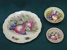 THREE PIECES OF AYNSLEY HANDPAINTED AND GILDED CERAMIC CHINA
