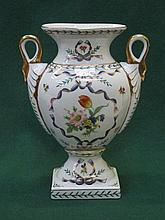 HANDPAINTED AND GILDED FLORAL DECORATED TWO HANDLED CERAMIC VASE, APPROXIMA