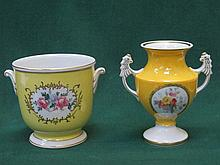 TWO PIECES OF CONTINENTAL HANDPAINTED AND GILDED CERAMICS