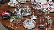PARCEL OF VARIOUS SILVER PLATEDWARE INCLUDING TEASET, ETC.