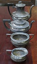 SILVER PLATED FOUR PIECE TEA SET