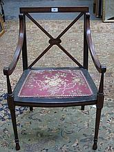 PRETTY ANTIQUE MAHOGANY INLAID ARMCHAIR WITH FLORAL UPHOLSTERED SEAT