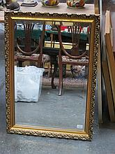 GILDED AND BEVELLED WALL MIRROR, APPROXIMATELY 71cm x 48cm