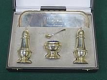 CASED HALLMARKED SILVER FIVE  PIECE CRUET SET