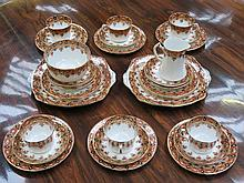 VICTORIAN HANDPAINTED AND GILDED FLORAL PART TEA SET, APPROXIMATELY THIRTY-PLUS PIECES