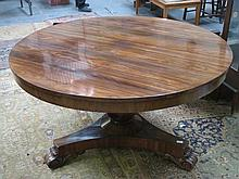 ANTIQUES ROSEWOOD TILT TOP CIRCULAR BREAKFAST TABLE ON TRIPOD SUPPORTS