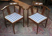 PAIR OF EDWARDIAN MAHOGANY INLAID CORNER ARMCHAIRS