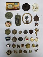 MIXED LOT INCLUDING COSTUME JEWELLERY, COINS, MEDALS AND BADGES, ETC.