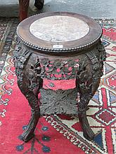 JAPANESE MARBLE TOPPED JARDINIERE STAND WITH CARVED PIERCEWORK DECORATION, APPROXIMATELY 58cm HIGH