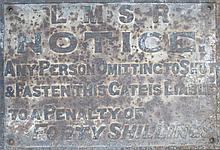 LMSR CAST IRON RAILWAY NOTICE SIGN
