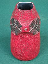 RED SECESSIONIST VASE, STAMPED AUSTRIA, APPROXIMATELY 23cm HIGH