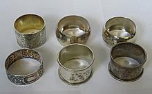 SIX VARIOUS SILVER NAPKIN RINGS