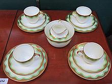 ROYAL DOULTON VALERIE GILDED ART DECO STYLE TEAWARE, APPROXIMATELY FOURTEEN PIECES