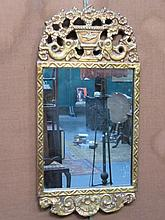 DECORATIVE GILDED AND PIERCEWORK FRAMED WALL MIRROR