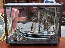 EBONISED CASED SHIPS DIORAMA