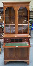 REPRODUCTION MAHOGANY TWO DOOR GLAZED BOOKCASE WITH NICELY FITTED SECRETAIRE SECTION BELOW