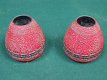 PAIR OF RED SECESSIONIST VASES, STAMPED AUSTRIA, APPROXIMATELY 17cm HIGH