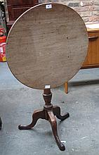 ANTIQUE MAHOGANY TILT TOP TABLE ON TRIPOD SUPPORTS