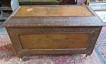 VINTAGE CARVED WOODEN SECTIONAL BLANKET CHEST