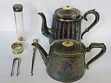 HALLMARKED SILVER BUTTON HOOK, SILVER TOPPED GLASS BOTTLE, PLATED NAPKIN RING, SUGAR TONGS AND TWO TEAPOTS