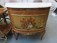 REPRODUCTION FRENCH STYLE ORMOLU MOUNTED SINGLE DOOR GLAZED SIDE CABINET