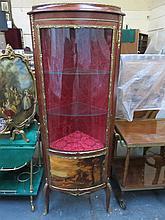 REPRODUCTION FRENCH STYLE ORMOLU MOUNTED SINGLE DOOR GLAZED CORNER CABINET