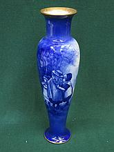 ROYAL DOULTON BLUE GLAZED GILDED CERAMIC VASE WITH FIGURE FORM DECORATION, APPROXIMATELY 36cm HIGH