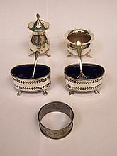 HALLMARKED SILVER CRUET ITEMS, NAPKIN RINGS, ETC.