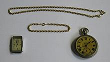 SERVICES ARMY POCKET WATCH, TWO GOLD COLOURED CHAINS AND ART DECO STYLE WATCH FACE