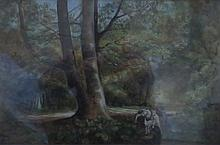 VICTORIAN GILT FRAMED OIL ON BOARD DEPICTING A WOODLAND SCENE, UNSIGNED, APPROXIMATELY 30cm x 43cm