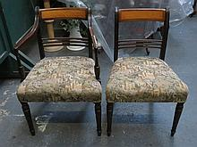 ANTIQUE MAHOGANY INLAID AND UPHOLSTERED ARMCHAIR AND MATCHING SINGLE CHAIR