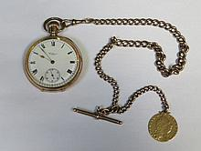 GOLD PLATED WALTHAM POCKET WATCH WITH 9ct GOLD ALBERT CHAIN AND MOUNTED 1798 GEORGE III SPADE GUINEA