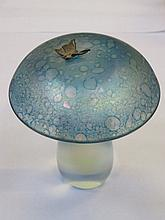 JOHN DITCHFIELD GLASFORM IRIDESCENT GLASS MUSHROOM FORM PAPERWEIGHT WITH SILVER COLOURED BUTTERFLY TO TOP, SIGNED TO BASE GLASFORM J. DITCHFIELD WITH FOIL LABEL, APPROXIMATELY 11.5cm HIGH