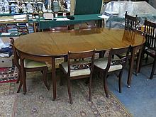 ANTIQUE MAHOGANY STRING INLAID EXTENDING DINING TABLE WITH TWO LEAVES AND SIX DINING CHAIRS