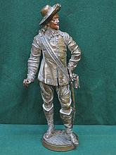 BRONZE EFFECT FIGURE OF A CAVALIER, APPROXIMATELY 38cm HIGH