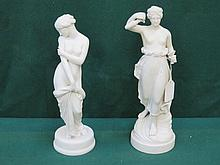 TWO UNGLAZED PARIAN WARE STYLE CLASSICAL STYLE FIGURINES (ONE AT FAULT)