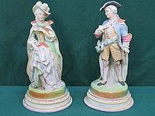 PAIR OF CONTINENTAL STYLE HANDPAINTED UNGLAZED BISQUE STYLE FIGURES, APPROXIMATELY 28cm HIGH