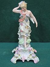CONTINENTAL STYLE HANDPAINTED AND GILDED RELIEF DECORATED CERAMIC FIGURINE, APPROXIMATELY 22cm HIGH