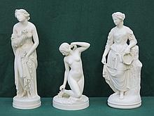 THREE VARIOUS PARIAN WARE STYLE CLASSICAL STYLE FIGURINES (ALL AT FAULT)