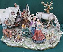 LARGE CAPODIMONTE CERAMIC FIGURE GROUP (AT FAULT)