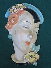 ROYAL DUX 1930s STYLE HANDPAINTED CERAMIC WALL MASK, NUMBERED 15512, APPROXIMATELY 19cm