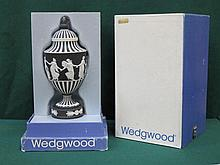 BOXED WEDGWOOD BLACK JASPERWARE URN WITH COVER, APPROXIMATELY 26cm HIGH