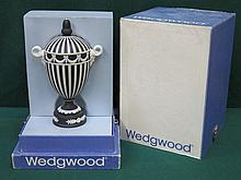 BOXED WEDGWOOD BLACK JASPERWARE TWO HANDLED URN WITH COVER, APPROXIMATELY 23cm HIGH