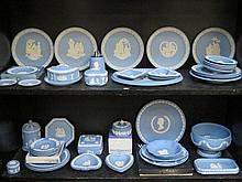 PARCEL OF APPROXIMATELY FIFTY PIECES OF WEDGWOOD BLUE JASPERWARE