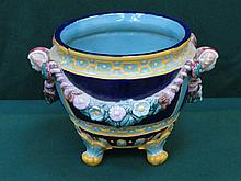 MAJOLICA STYLE HANDPAINTED, GLAZED CERAMIC JARDINIERE, NUMBERED TO BASE 1899, APPROXIMATELY 25cm HIGH