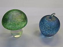 TWO JOHN DITCHFIELD GLASFORM IRIDESCENT GLASS PAPERWEIGHT, BOTH WITH FOIL LABELS TO BASE