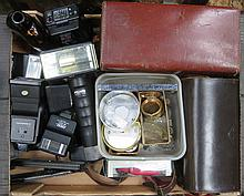 MIXED LOT OF SUNDRIES INCLUDING WATCH PARTS, CAMERA ACCESSORIES, ETC.