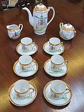 JAPANESE HANDPAINTED AND GILDED FIFTEEN PIECE COFFEE SET