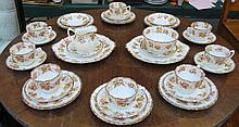 PARCEL OF VICTORIAN FLORAL AND GILDED TEAWARE, APPROXIMATELY THIRTY-PLUS PIECES